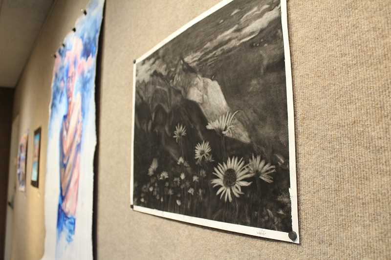 Art by Ellie Raetzman, a FGHS Student. (Image via Forest Grove News Times; Photo Credit: Gabby Urenda)